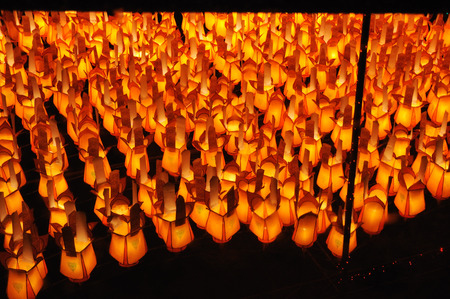 colorful lantern: Colorful Lantern Festival or Yee Peng Festival  North of Thailand new years  , Chiang Mai ,Thailand Stock Photo