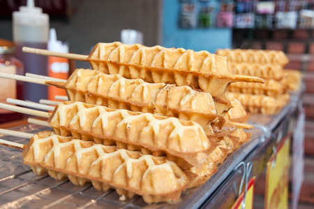 waffle sticks sell in Thai market Stock Photo