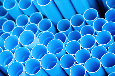 Blue pvc pipes Stock Photo