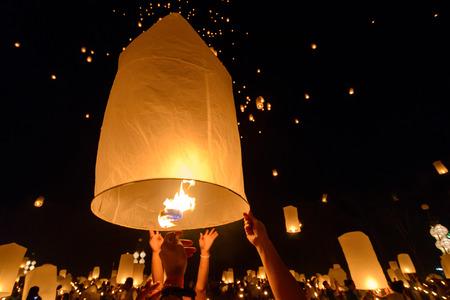Sky floating lantern, Yi Peng,Firework Festival , Chiangmai , Thailand photo