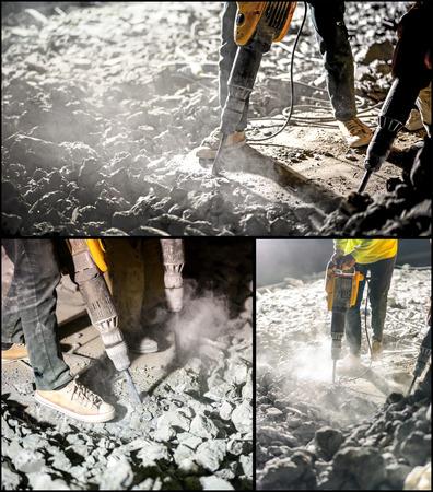 jack tar: Collage of works with jackhammer