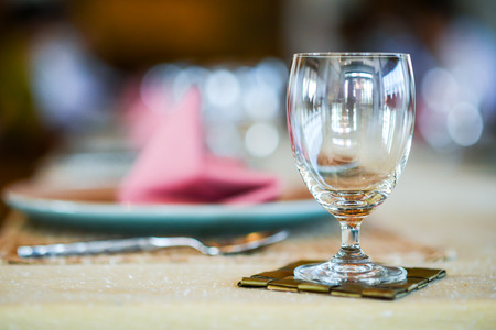 Table decoration for meal time , Empty glasses set in restaurant
