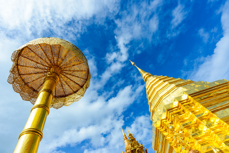 doi: Doi Suthep temple with clouds and blue sky,Chiangmai ,Thailand The most popular temple in Chiangmai. Stock Photo