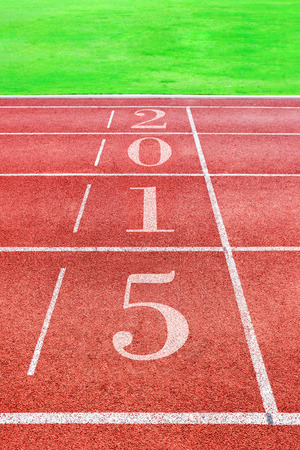 happy new year 2015 , race track with green grass photo