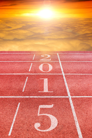 happy new year 2015 , race track in sunrise photo