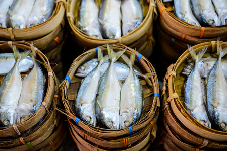 Tuna fish in bamboo basket photo