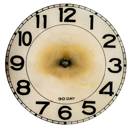 Old Vintage Clock Isolated on white Stockfoto