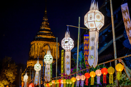 colorful lantern: Colorful Lantern Festival or Yee Peng Festival 2014 (North of Thailand new years) , Chiang Mai ,Thailand