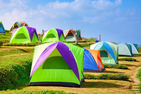Camping tent on top the mountains photo