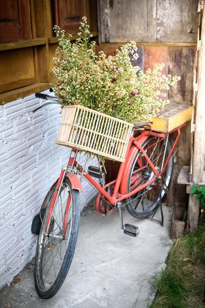 decorated bike: Old Vintage Bicycle Archivio Fotografico