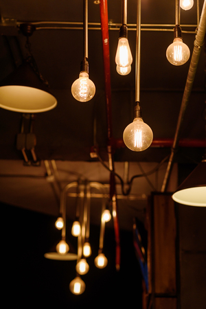 interiors: vintage bulbs decor interiors ,Lighting decoration