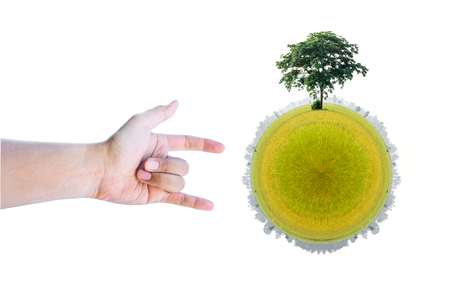 love of planet: Love hand sign and tree on green planet on white background Stock Photo