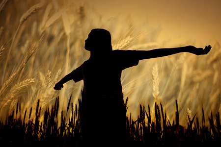 beatitude: silhouette woman stands in a field of ripe wheat background Stock Photo