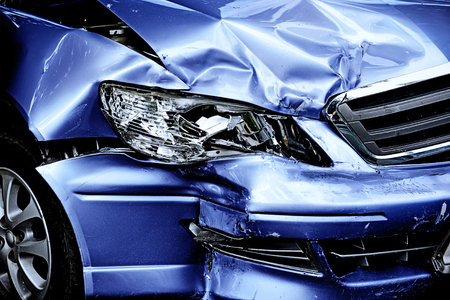 car wreck: Blue Car crash background