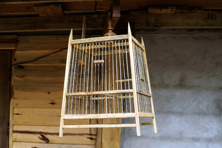 tradition: tradition wooden bird cage , thailand