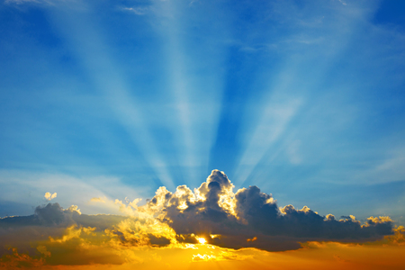 colorful cloudscape: Beautiful colorful cloudscape sunset with sun rays Stock Photo