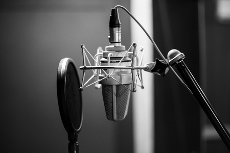 microphone in studio Stock Photo