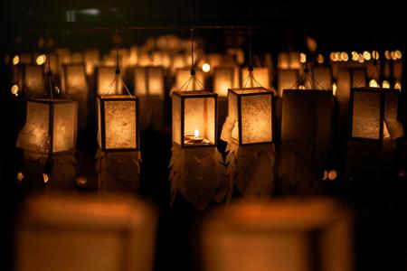 candle lighting paper lanterns Archivio Fotografico