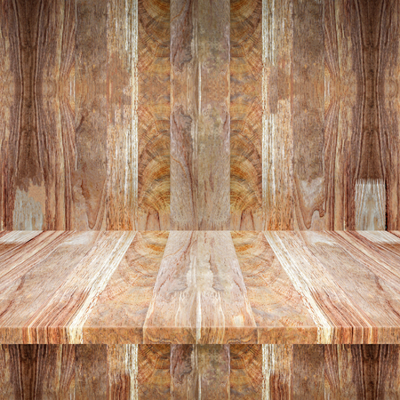 Empty top wooden table and Wood walls for text and background or put product and something, vintage backgrounds