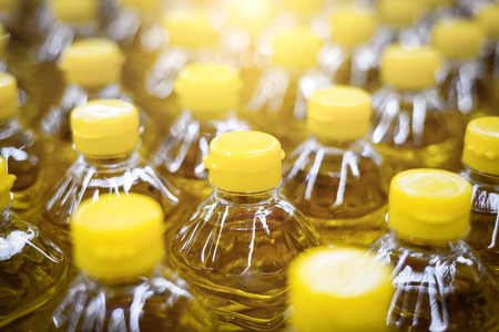 Palm oil in bottle pattern factory warehouse store food background