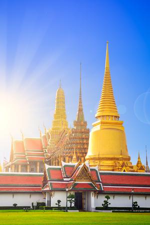 pa: Wat Phra Kaew, Temple of the Emerald Buddha with blue sky background , Bangkok,Thailand