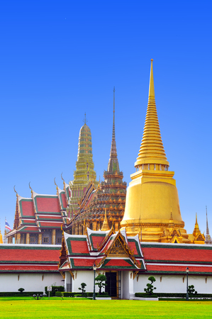 Wat Phra Kaew, Temple of the Emerald Buddha with blue sky background , Bangkok,Thailand
