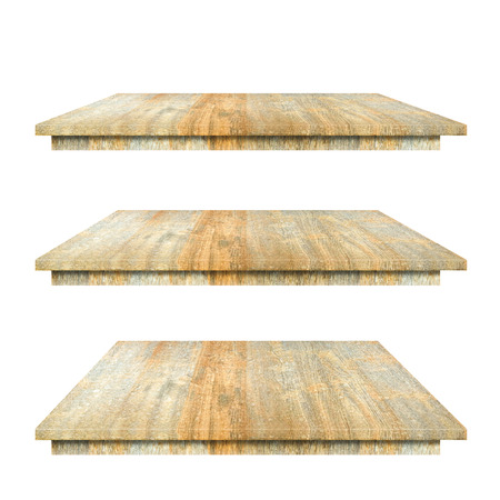 Empty top 3 Wood layer Shelves Table isolated on white background