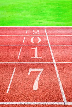 2017 Happy New Year, athletics sport running track concept