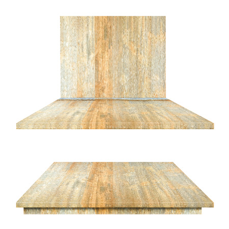 Wood Top Shelves Table and wall isolated on white background Stock Photo
