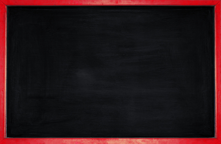 rubbed out on blackboard for text and background , empty blackboard with red wooden frame backgrounds Stock Photo