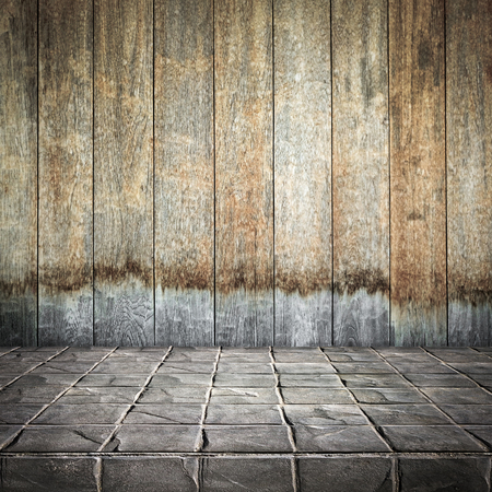 Empty top Concrete block floor and wooden wall for text and background or put product and something
