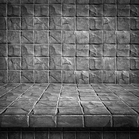 Empty top Concrete block floor and walls for text and background or put product and something