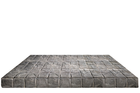 Concrete block wall Shelves Table isolated on white background Stock Photo