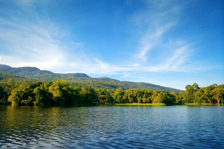 landscape lake in blue sky with mountains background, Chiang mai , Thailand Stock Photo