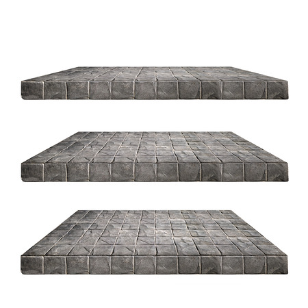 3 Concrete block wall Shelves Table isolated on white background