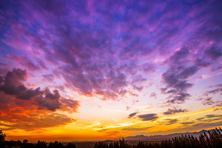 Dramatic sunset and sunrise sky and clouds