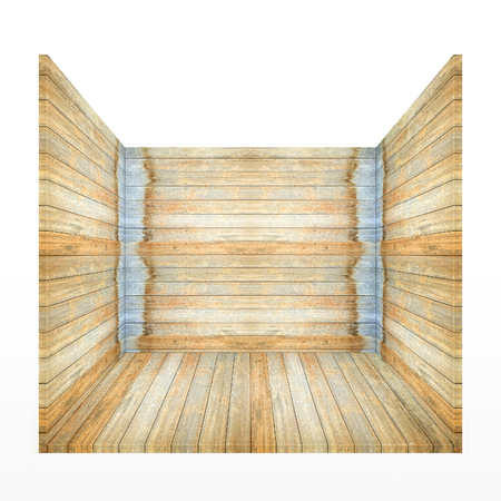 Empty wooden room box isolated on white background .For put product and something