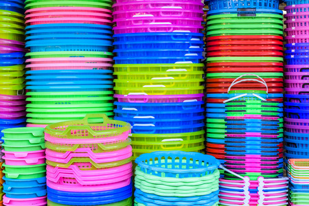 colorful plastic basket pattern background Stock Photo