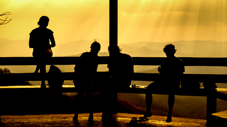 Silhouette of group friends watching sunset with hand posts
