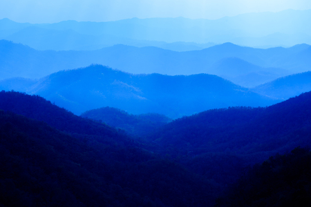 blue color of mountains at evening , Chiang mai , Thailand