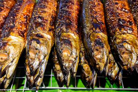 Grilled Saba fish on sale at the market