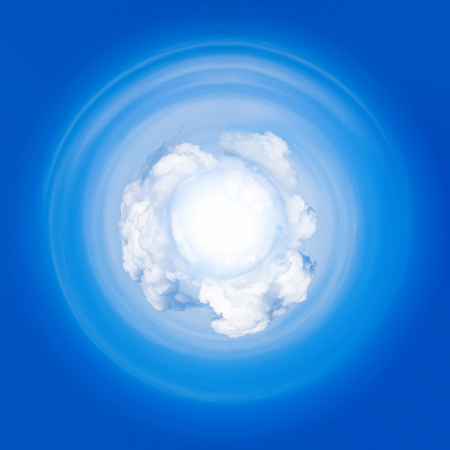 blue sky and clouds , small planet effect