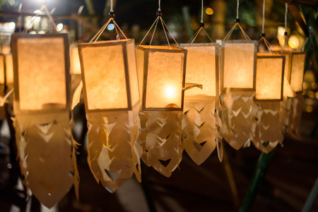 Candle Lighting Paper Lanterns in Loy Kratong festival , Yee Peng Festival (North of Thailand new years) , Chiang Mai ,Thailand