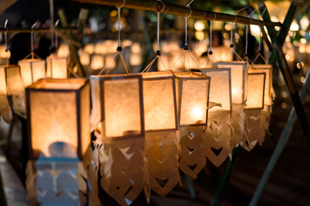 Candle Lighting Paper Lanterns in Loy Kratong festival , Yee Peng Festival (North of Thailand new years) , Chiang Mai ,Thailand Standard-Bild - 120714808