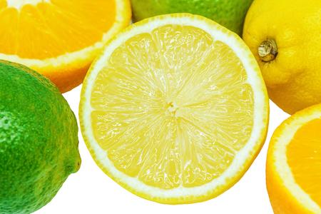 Orange Lime Lemon , Citrus Fruits isolated on white background