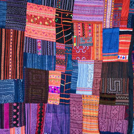 artistic variety shade tone colors ornaments patterns of thai silk , Chiang mai , Thailand Zdjęcie Seryjne