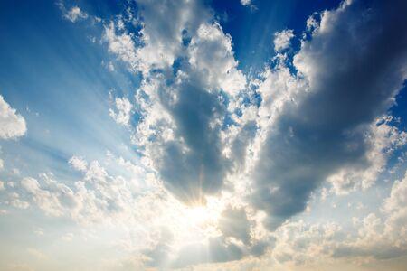 Sunset sky clouds with sun rays Stock fotó