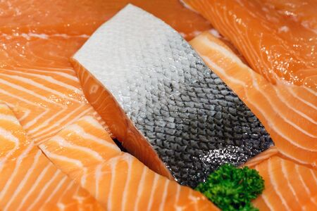 close up of raw fillet meat salmon fish , texture and background