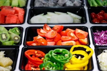 Fresh tomato and Vegetables in Salad Bar buffet