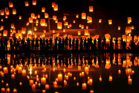 (hot air balloon) Thai people Floating sky Lantern in northern Thai traditional new year , Yi Peng Festival and Loy Krathong festival